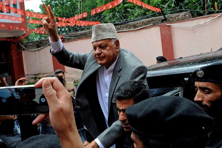 De Kasjmirse politicus Farooq Abdullah eerder dit jaar in de stad Srinagar, nadat hij zijn parlementszetel in verkiezingen had behouden. Beeld AFP