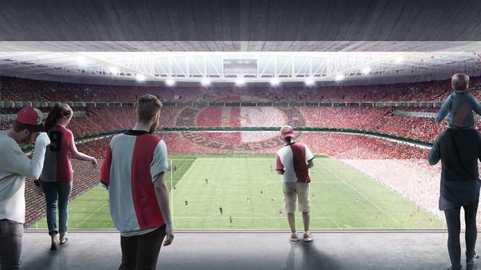Blik in het nieuwe stadion.