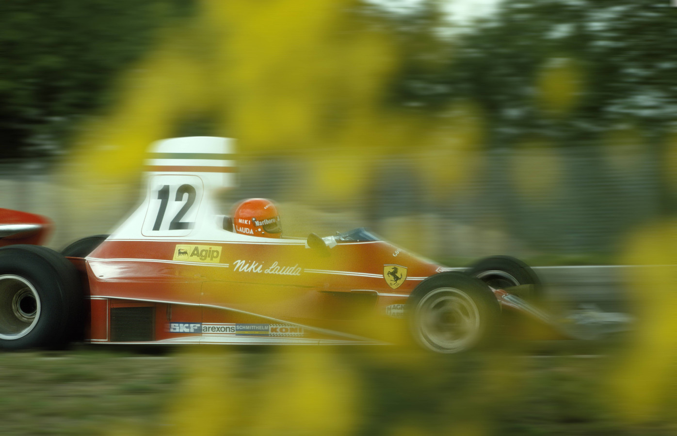 Niki Lauda in de Grand Prix van België in 1975