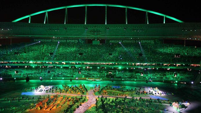 Het Joao Havelange-stadion in Rio de Janeiro tijdens de openingsceremonie van de World Military Games in 2011.