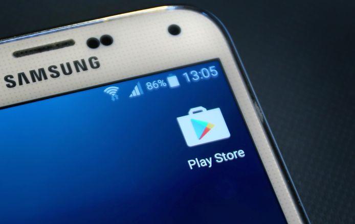 De applicatie van Google Play Store op een smartphone.