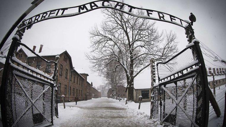 De ingang van het voormalige concentratiekamp Auschwitz. Beeld afp