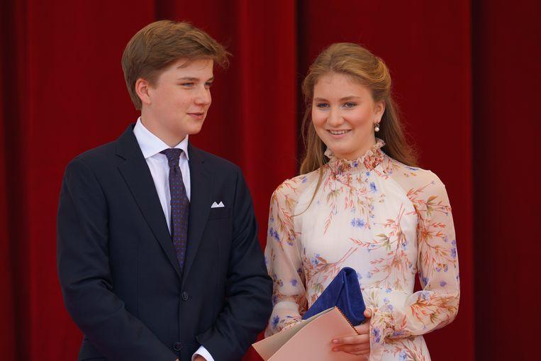 Prinses Elisabeth en haar broer prins Gabriël.