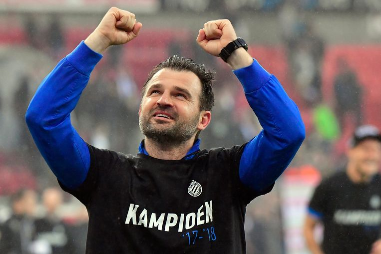BRUGGE, BELGIUM - MAY 13 : Ivan Leko head coach of Club Brugge celebrating winning the Jupiler Pro League title 2017 - 2018 for the 15th time in the history of the club at the Sclessin stadium on May 13, 2018 in Brugge, Belgium, 13/05/2018 ( Photo by Peter De Voecht / Photonews
