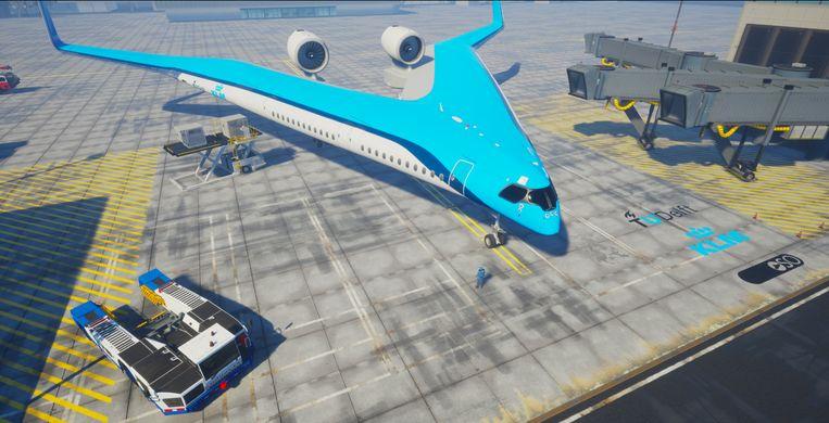 Artistieke verbeelding van de Flying-V, die in 2050 op Schiphol te zien zou moeten zijn.
