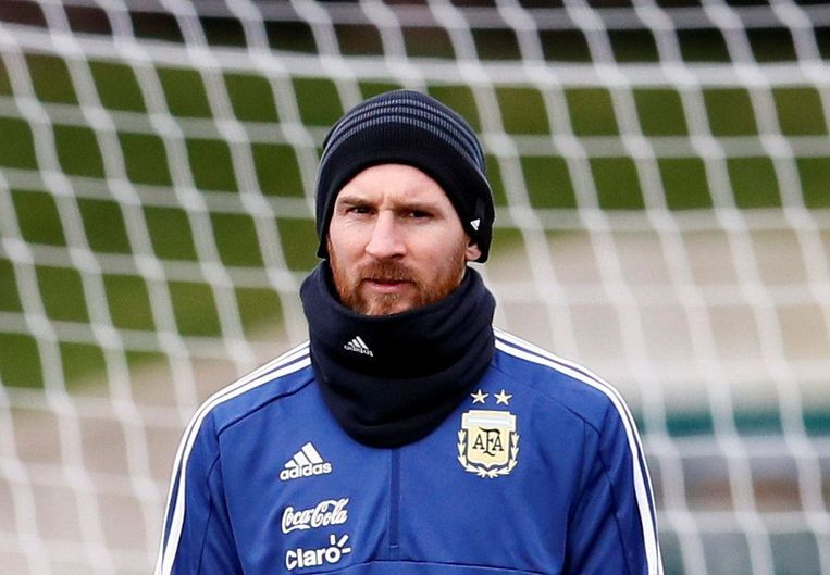 Messi met de Argentijnse nationale ploeg deze week in Manchester.