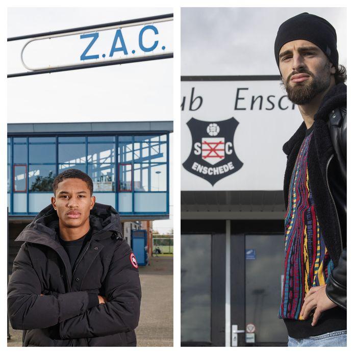 Jayden Oosterwolde (links), de linksback van FC Twente bij de club waar het allemaal voor hem begon: ZAC in Zwolle. Destan Basjelmani (rechts), voetballer van PEC Zwolle op de plek waar het voor hem allemaal begon: Sportclub Enschede. © Pedro Sluiter Foto/Frans Nikkels