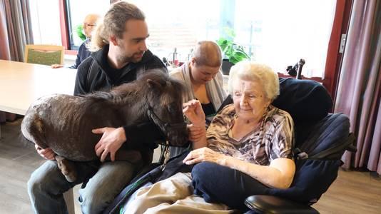 Jesse-Beau Husken neemt therapiepaardje Woezel op schoot, zodat mevrouw van der Weij het dier beter kan zien.