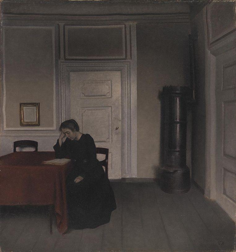 Vilhelm Hammershøi, Kamer in het huis van de kunstenaar in Strandberg, Kopenhagen, met zijn vrouw. Beeld Statens Museum for Kunst, Kopenhagen