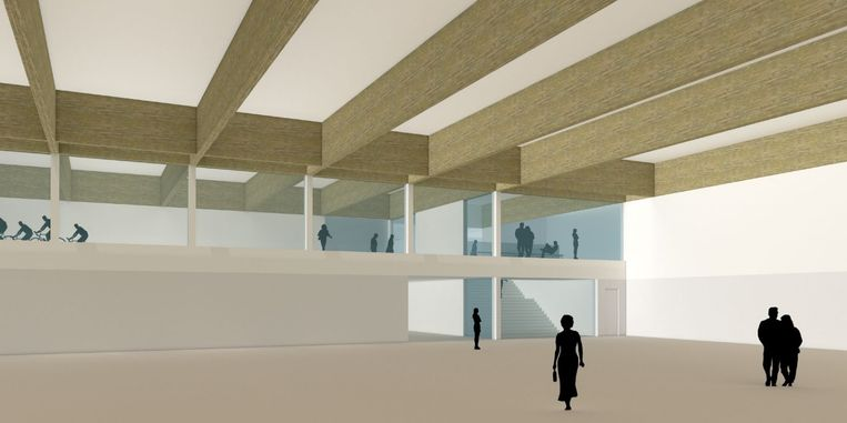 De nieuwe sporthal, herkenbaar aan het platte dak, wordt aan het nieuwe zwembad gebouwd.