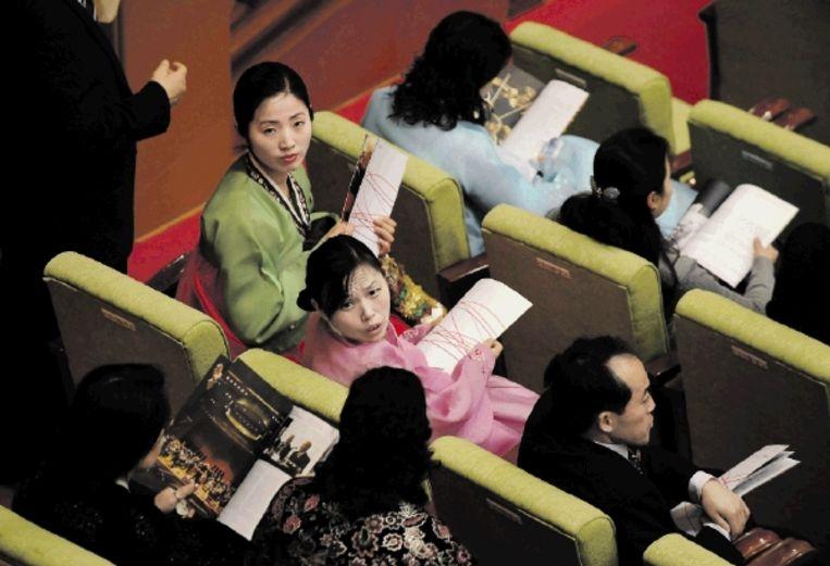 Lange tijd was Amerikaanse muziek taboe in Noord-Korea. Daarom wordt het optreden van het New York Philharmonic in Pyongyang in 2008 gezien als een historische doorbraak. (Trouw) Beeld AFP