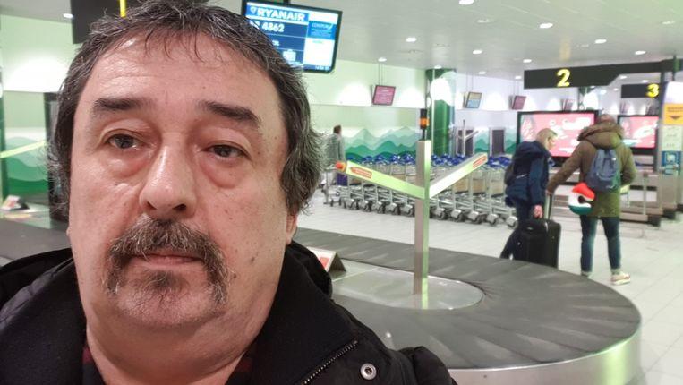 Philip Soubry, in de luchthaven van Bologna