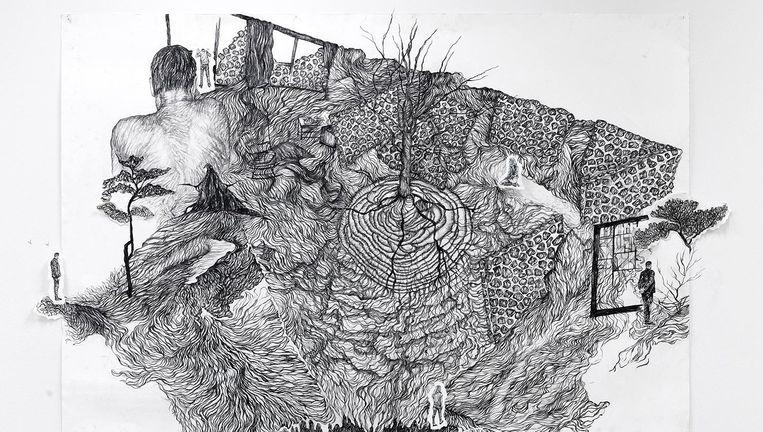 De tekeningen van Romy Muijrers zijn dromerig, vol en gedetailleerd Beeld Rik Klein Gotink