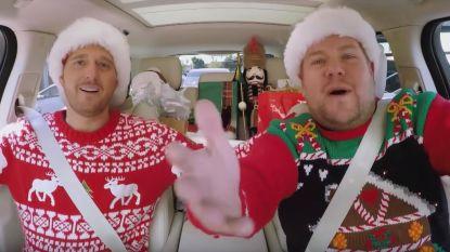 VIDEO. James Corden maakt een kerstige 'Carpool Karaoke' met Michael Bublé, Barbra Streisand en Paul McCartney