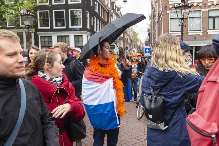 Drukte op de Prinsengracht in Amsterdam.  Beeld ANP