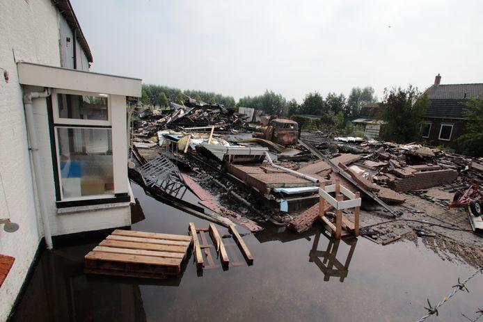 De brand in Brandwijk richtte een grote ravage aan.