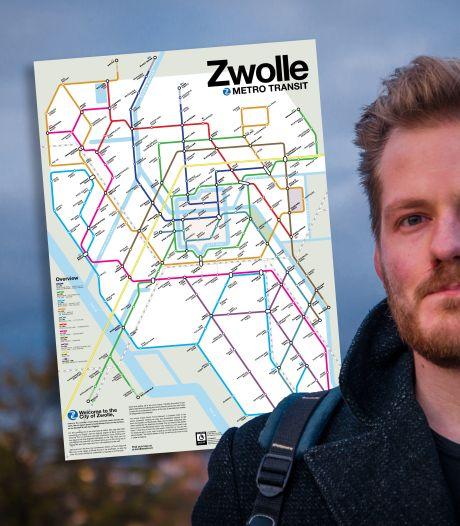 Hangover Ferry en Shagbow Alley: Victor verzint metrokaart van Zwolle, met (fout) vertaalde straten