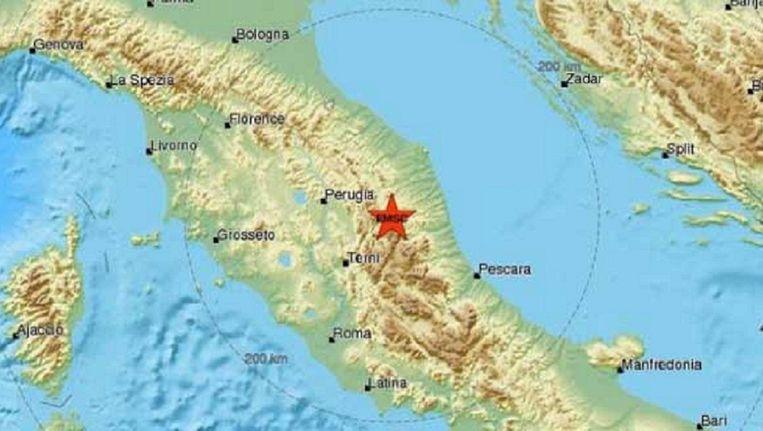 Het epicentrum van de aardbeving lag tussen Perugia en Terni.