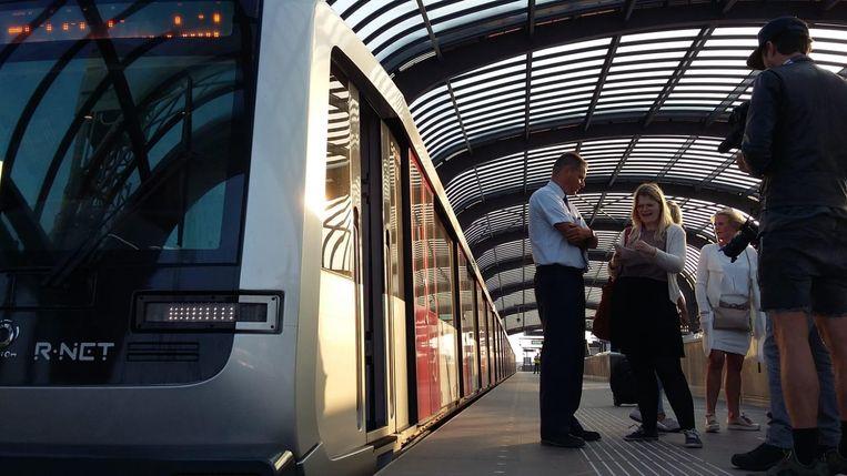 Vlak voor de allereerste officiële rit van de Noord/Zuidlijn, station Noord. Beeld Marc Kruyswijk