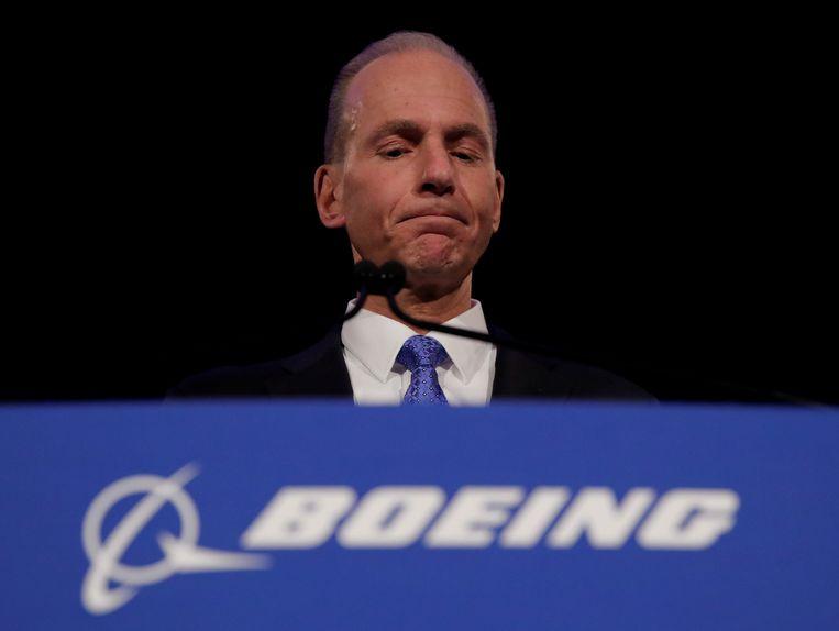 Voormalig topman van Boeing, Dennis Muilenburg, tijdens een persconferentie in april 2019. Beeld REUTERS