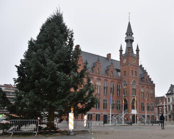 De kerstboom van Maldegem werd donderdagmiddag geplaatst.