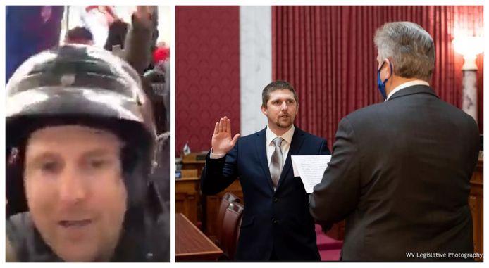 Derrick Evans, links als een van de Capitool-bestormers, rechts bij zijn eedaflegging in het lagerhuis van West-Virginia in december.