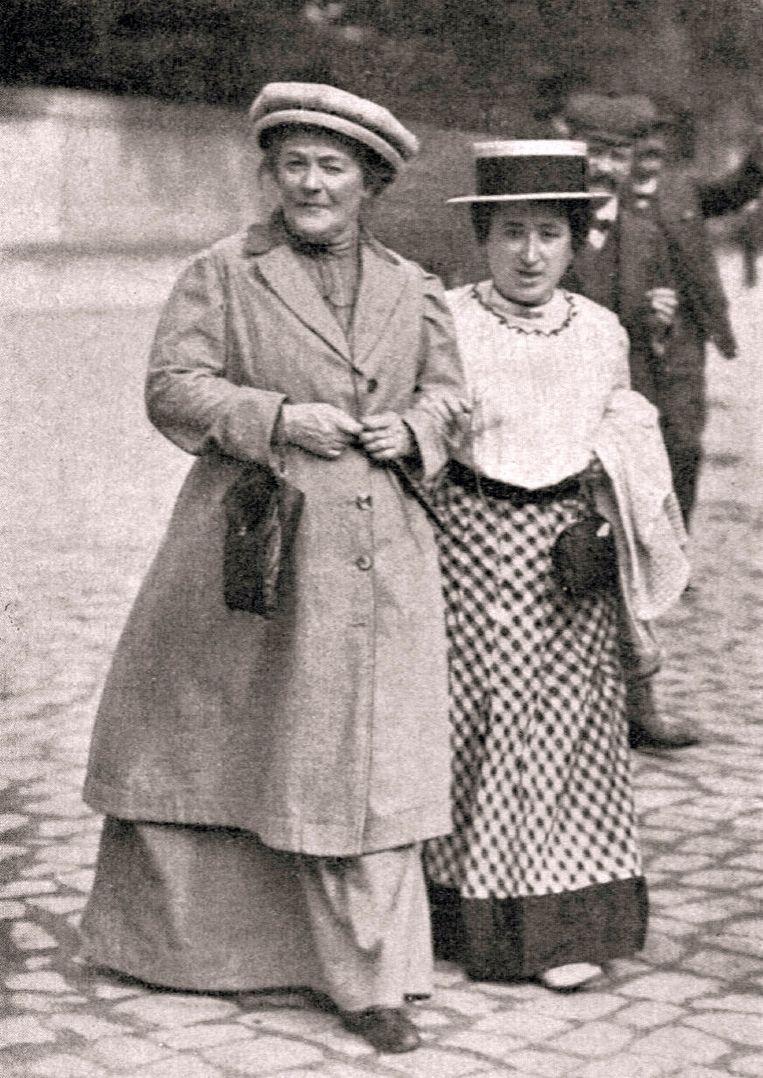 Clara Zetkin en Rosa Luxemburg in 1910. Beide vrouwen streden voor vrouwenrechten.
