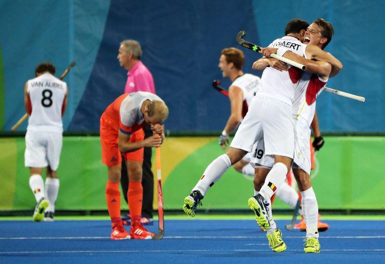 België viert feest. Favoriet Nederland is verslagen. Beeld epa