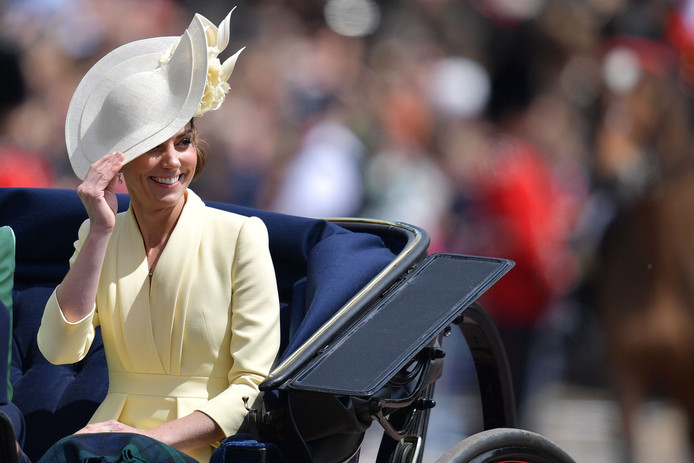 Britain's Catherine, Duchess of Cambridge smiles as she returns to Buckingham Palace after the Queen's Birthday Parade, 'Trooping the Colour', in London on June 8, 2019. - The ceremony of Trooping the Colour is believed to have first been performed during the reign of King Charles II. Since 1748, the Trooping of the Colour has marked the official birthday of the British Sovereign. Over 1400 parading soldiers, almost 300 horses and 400 musicians take part in the event. (Photo by Daniel LEAL-OLIVAS / AFP)