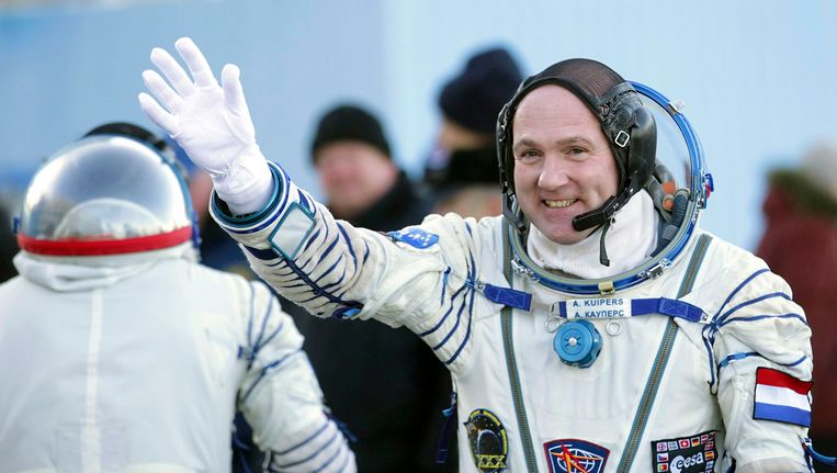 De Nederlandse astronaut André Kuipers, die op dit moment aan boord is van het International Space Station (ISS). Beeld REUTERS