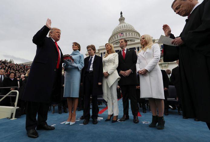 De eedaflegging van Donald Trump op 20 januari 2017.
