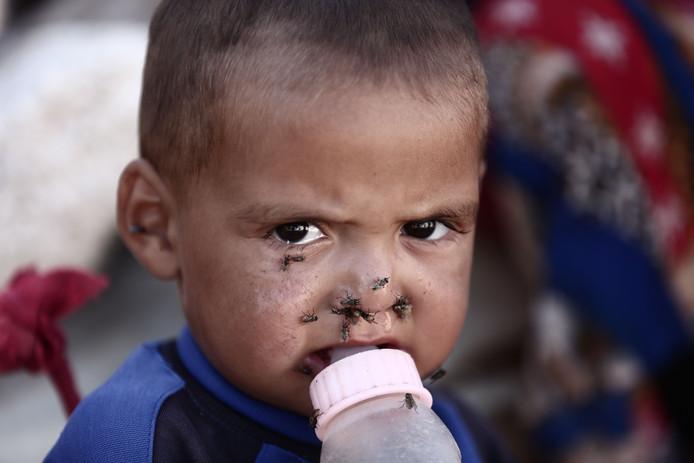Een vluchteling in Idlib.