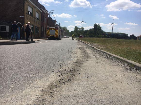 In Harelbeke zorgde een betonmixer voor een spoor.