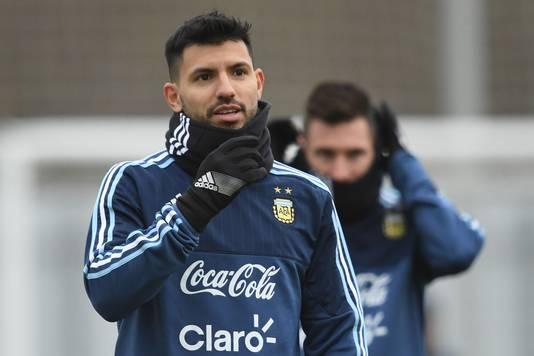 Sergio Agüero op de training van Argentinië in Moskou.