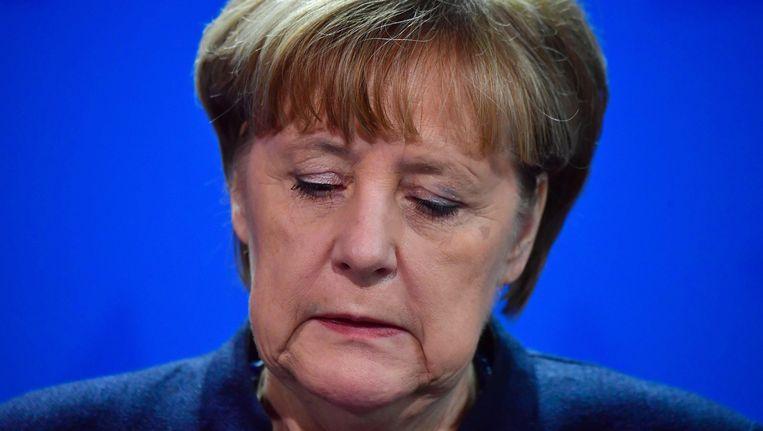 Bondskanselier Angela Merkel tijdens de persconferentie. Beeld AFP