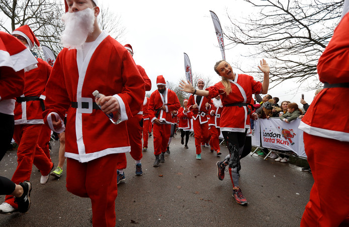 De Santa Run in Londen, Engeland.