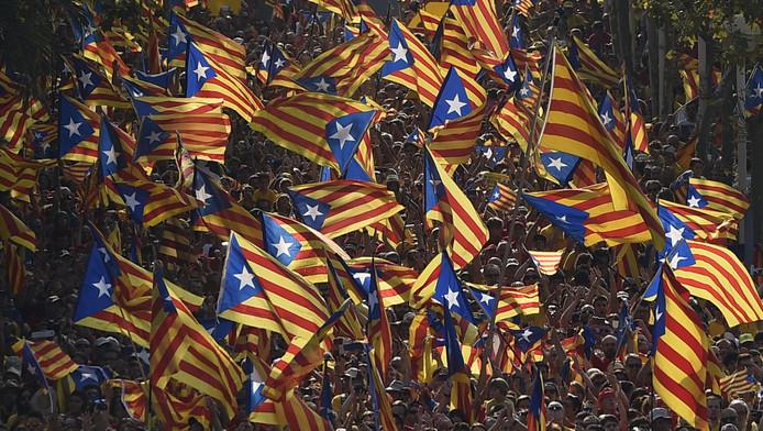 Drapeaux indépendantistes catalans