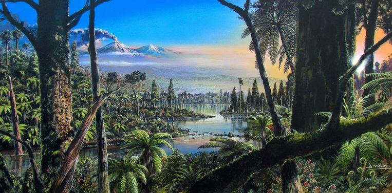 Een schets van de natuur op Antarctica, negentig miljoen jaar geleden. Beeld Alfred-Wegener-Institut