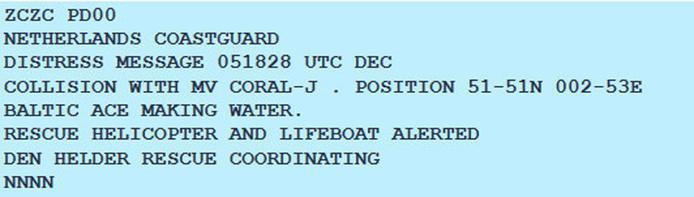 Aanvaring tussen twee vrachtschepen op Noordzee, 30nm uit de kust van Zeeland. Bijbehorend Navtex-bericht.