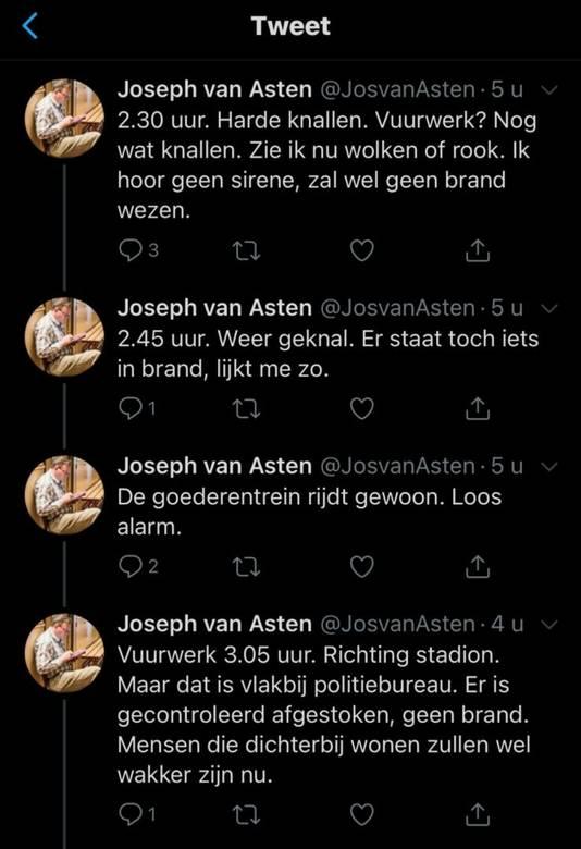 Het nachtelijk vuurwerk van de Willem II-fans bleef in Eindhoven niet onopgemerkt.
