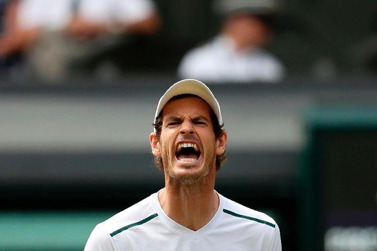 Murray reageert boos na het verliezen van een punt tegen Sam Querrey in de kwartfinale. Beeld afp