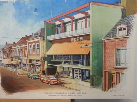 Het vroegere gebouw van de PGEM aan de Grutstraat in Doetinchem. Later was het in gebruik als pand van De Gelderlander.