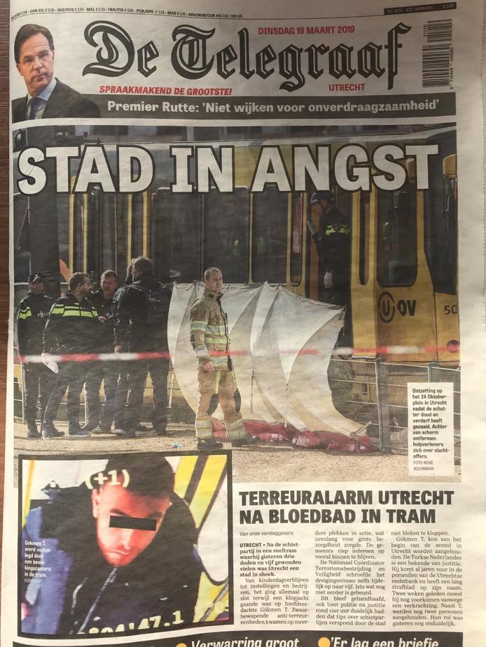 De voorpagina van De Telegraaf vandaag.