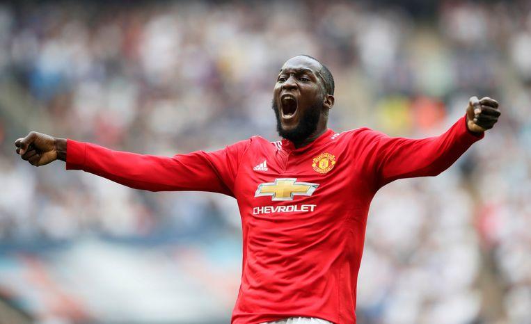 Romelu Lukaku in het shirt van Manchester United.