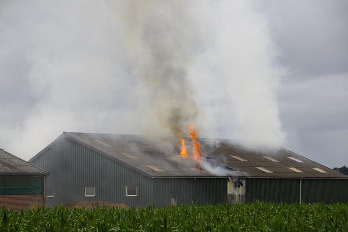 Uitslaande brand in een schuur aan de Zuiderzeestraatweg in Wezep.