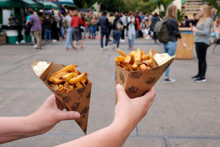 Frietjes, tijdens het Amsterdam - Vegan Food Festival.  Beeld Hollandse Hoogte