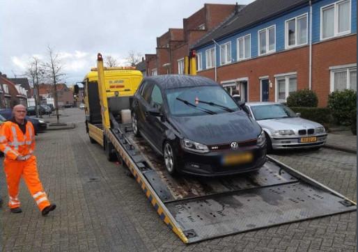 De in beslag genomen auto in Breda.