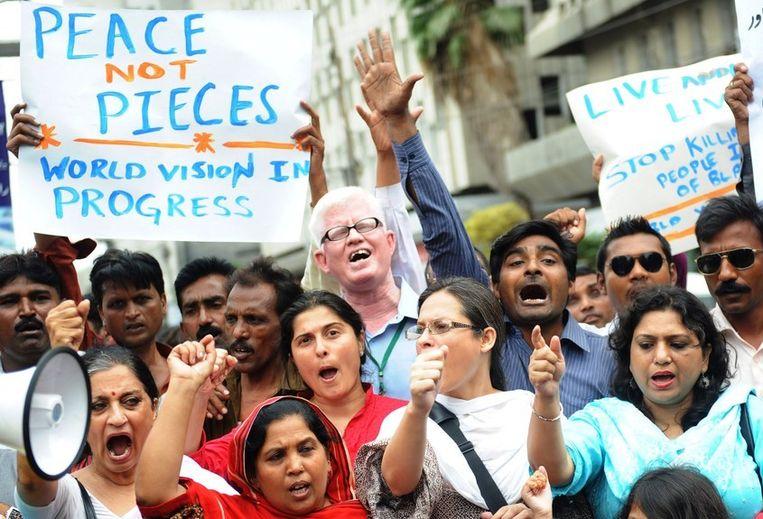 Leden van het Actiecomité voor Mensenrechten protesteren zaterdag in de Pakistaanse stad Karachi tegen de blasfemiewetten in het land. Beeld afp