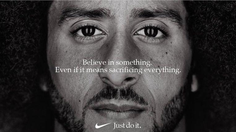 De Nike-campagne met Colin Kaepernick. Beeld -