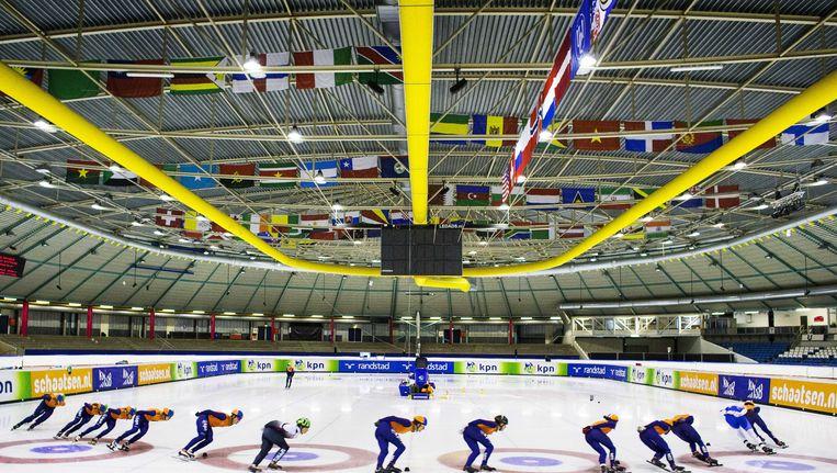 Shorttrackers trainen in Heerenveen voor de Winterspelen in Sotsji. Beeld ANP